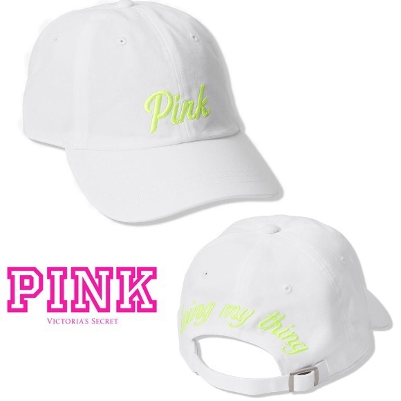 "PINK Victoria's Secret Accessories - NEW💕VS PINK NEON WHITE LOGO ""Doing my thing"" Hat"